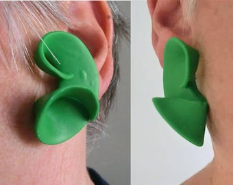 Green swirly earrings with studs or clips/ curly 1/2 circle/ bright green polymer earrings with steel ear posts or clips