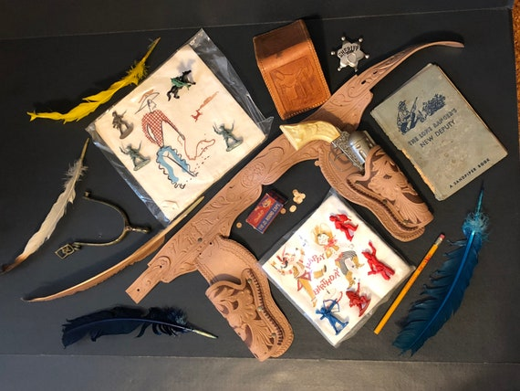Vintage Brokedown Cowboy Collection - Gun, Circle O Caps, Belt, Spur, Wallet, Badge, Lone Ranger's New Deputy Book, Roy Rogers Pencil & MORE