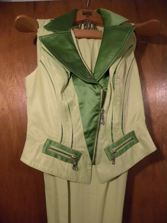 Neon Green '80s Pantsuit - Made in USA - image 5