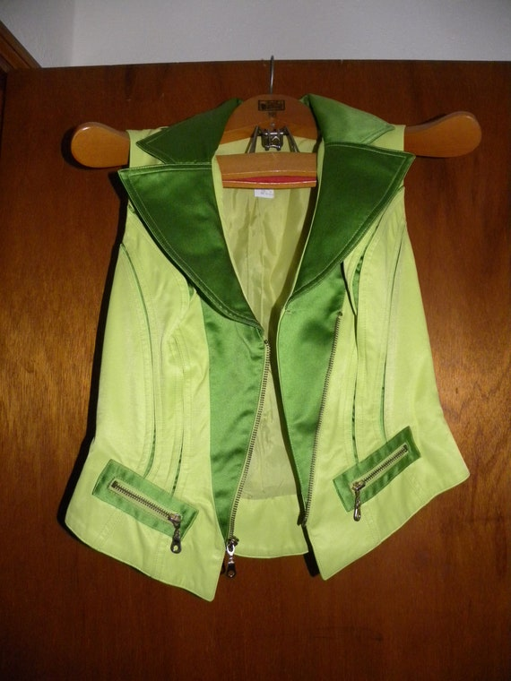 Neon Green '80s Pantsuit - Made in USA - image 3