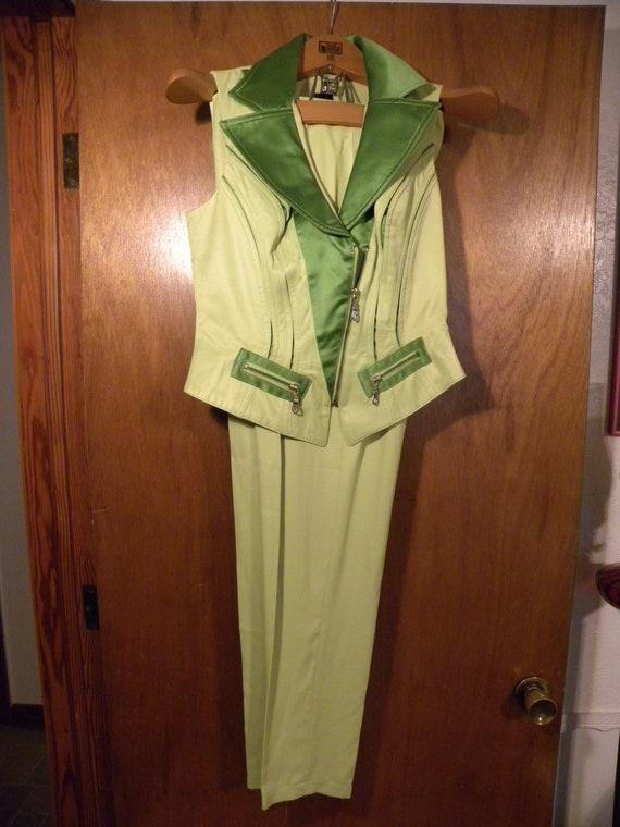 Neon Green '80s Pantsuit - Made in USA - image 2