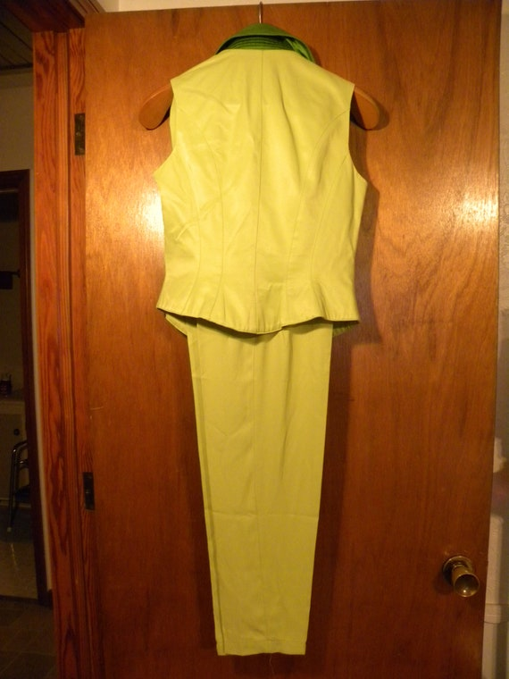 Neon Green '80s Pantsuit - Made in USA - image 6