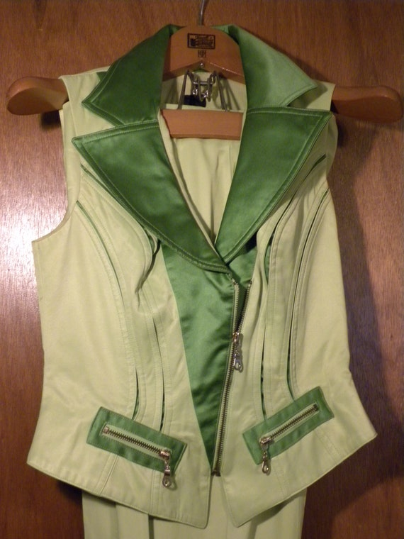 Neon Green '80s Pantsuit - Made in USA - image 4
