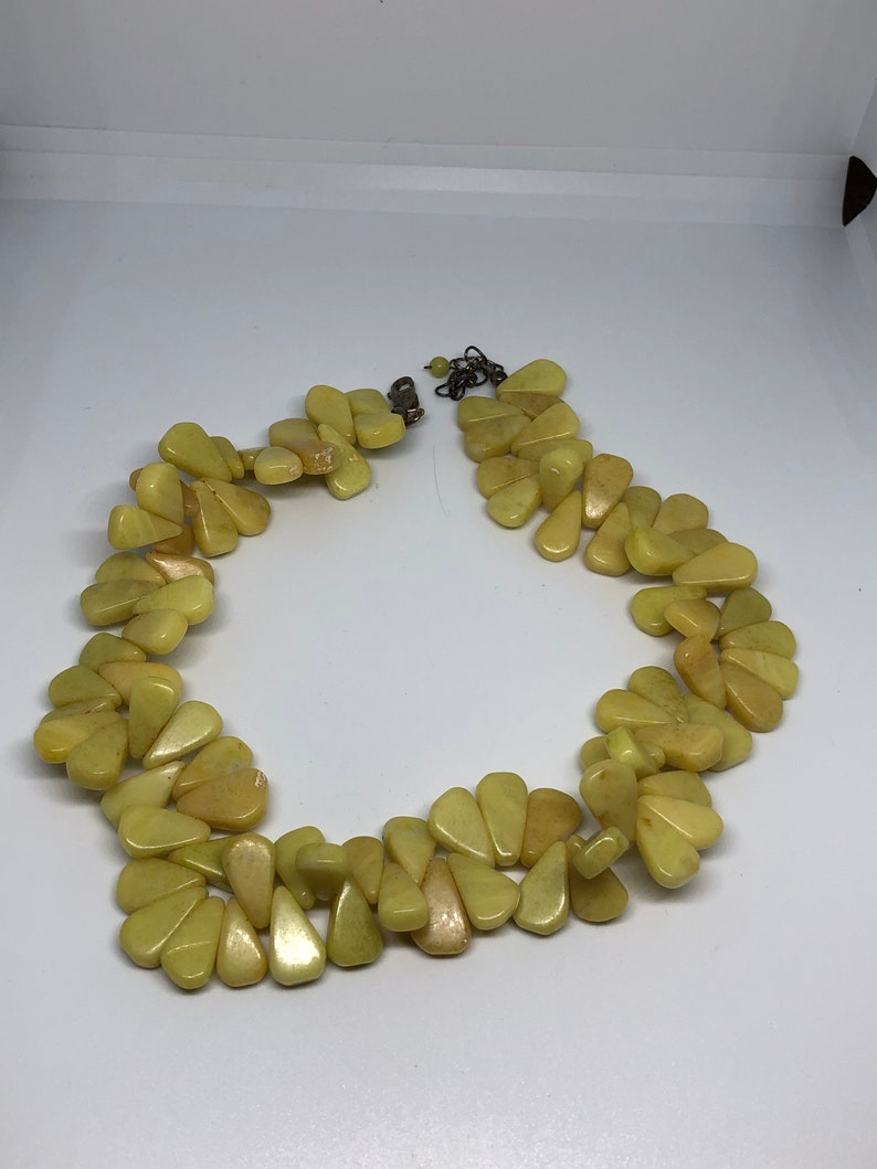 Vintage Yellow Stone Choker .925 Clasp Corn Kernel Shaped Stones