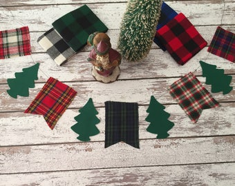 Plaid banner, Christmas banner, holiday banner, tree banner, Christmas garland, plaid garland, holiday garland, tree garland, Christmas