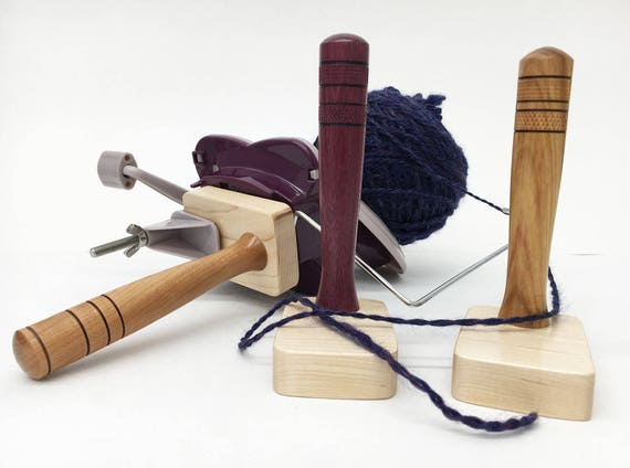 Yarn Ball Winder Handle Maple Wood Base Hand Turned Center Pull Ball Custom Designed Skein Wind From Spinning Wheel Or Swift