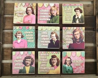 Set of Four Nerdy Girl Coasters