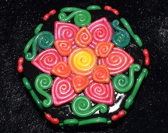 Orange and Pink Double Flower Polymer Clay Decorated Hexagon Box