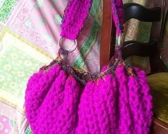 Fushia Crocheted Hobo Bag