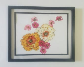 "Original Framed Monoprint/Drawing ""Flowing Flowers"""