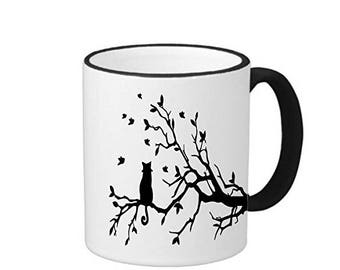 Cat on a Branch 11 ounce Black Rim/Handle Ringer Ceramic Coffee Mug Tea Cup, 519m058 RINGER