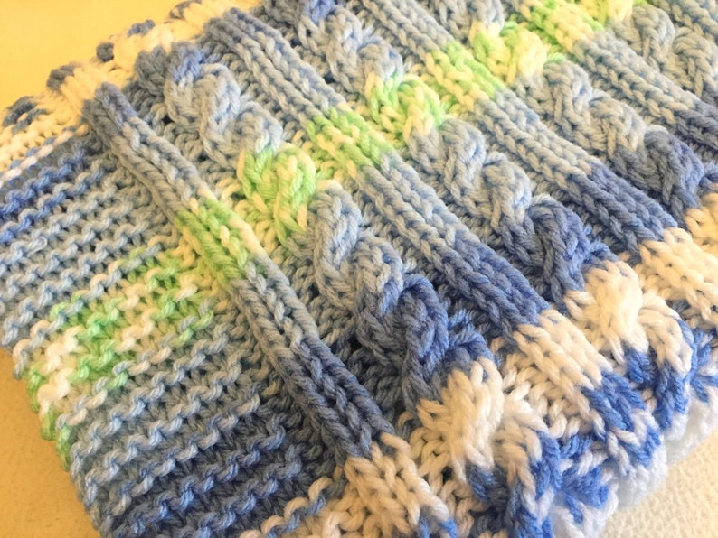 Aran Cable Baby Blanket Knitting Pattern Etsy