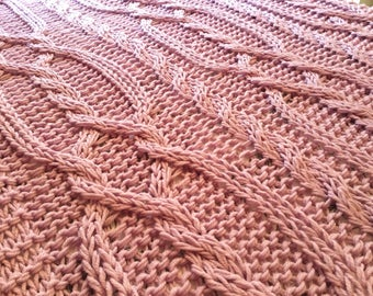 Large Chunky Cable hand knit blanket  / throw   -  Pale Purple.