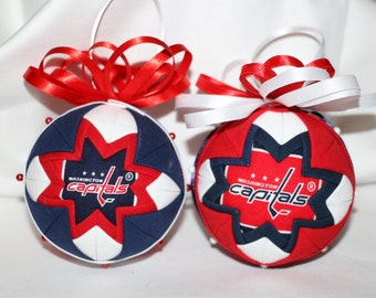 Quilted Fabric Ornament Hockey Washington Capitals Caps  2 Sided