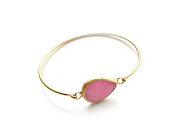 Teardrop Pink Jade Gold Plated Cuff Bracelet