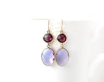 Gold Plated Lilac and Violet Glass Double Stone Earrings