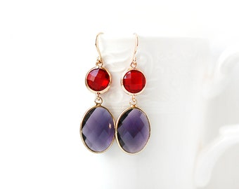 Gold Plated Red and Violet Glass Double Stone Earrings