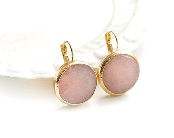 Matte Gold Plated Peach Jade Round Earrings