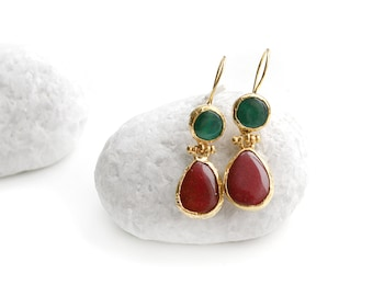 Red and Green Jade Stone Hook Gold Plated Earrings