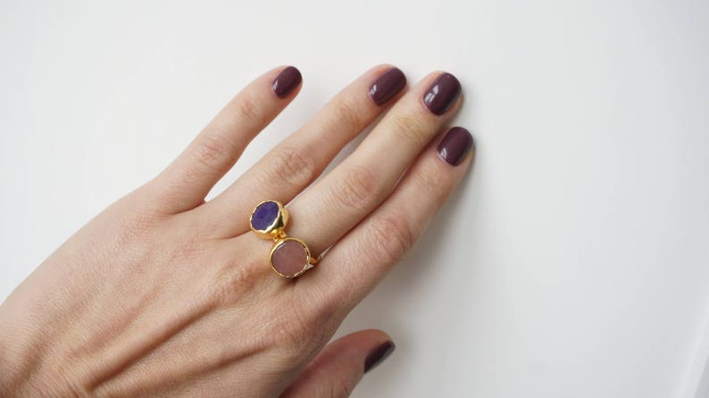 Electric Orange Jade Stone Tiny Round Gold Plated Ring