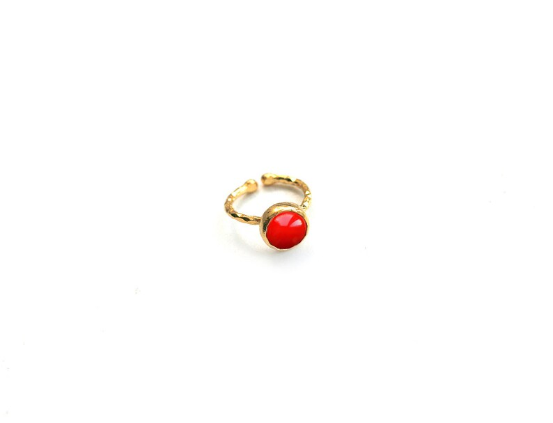 Red Jade Stone Tiny Round Gold Plated Ring