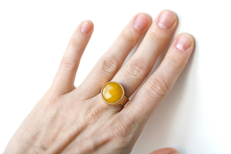 Adjustable Round Yellow Jade Stone Gold Plated Ring