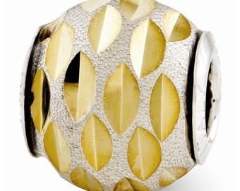 Sterling Silver Velvet Gold-plated Diamond Cut Bead