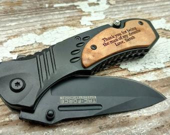 Message Him, Pocket Knife, Engraved Knife, Custom Pocket Knife, Engraved Pocket Knife, Groomsman Gift, Message Knife, Valentine's Day
