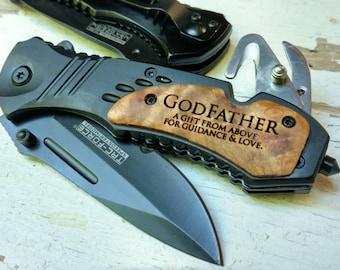 Godfather Pocket Knife, Godfather Gift, Gift for Godfather, Godfather, Pocket Knife, Engraved Knife, Godparent Gift, Godparent, Custom Knife