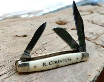 Engraved Pocket Knife, Traditional Pocket Knife, Pocket Knife, Custom Pocket Knife, Gentleman's Knife, Groomsman Knife, Engraved Knife
