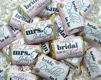 bridal shower favors mini candy bars assembled or wrappers only miniature chocolate favors soon to be mrs blush pinkgold bridal shower