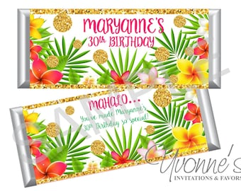 Birthday Hawaiian Luau Bar Wrappers Assembled Chocolate Bars 30th40th50th60th Bridal Shower Sweet 16 Tropical