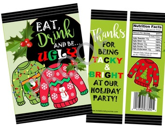 25Pcs Christmas Ugly Sweater Party Favor Bag,UTOPP Holiday and Christmas Party Goodie Bag,Non-woven Party Gift bag for Winter Holiday Ugly Xmas Party Decorations,New Year Party Supplies