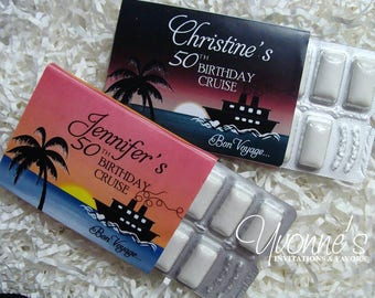 Cruise/Bon Voyage Nautical Party Favors - Gum Candy Bar Favors or Wrappers - Destination Wedding, Birthday Cruise, Summer/Vacation Fun