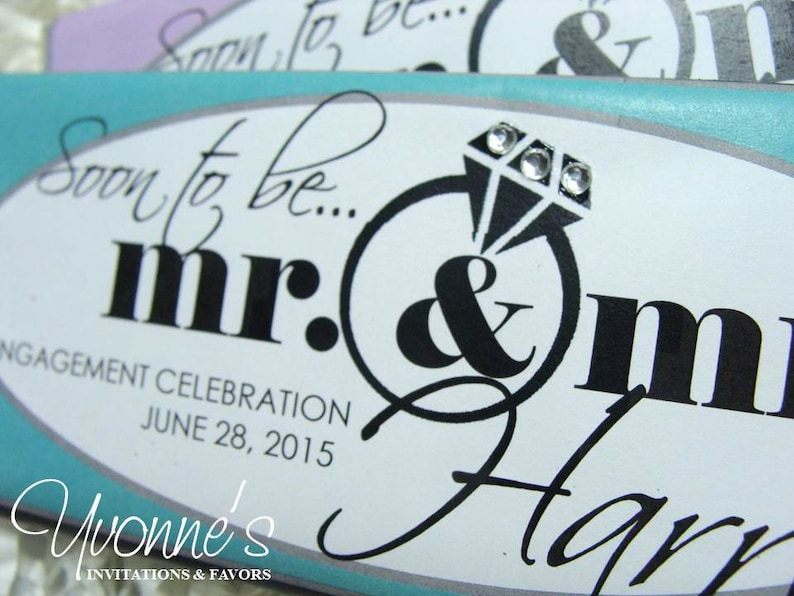 or Soon-To-Be for Bridal Shower Wedding-Rehearsal Dinner-Engagement Party Candy Bar Wrappers for Chocolate Bar Favors-Mr /& Mrs