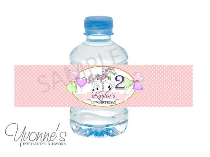 97c9d163528f Carousel Water Bottle Wrappers - First 1st Birthday, Baby Birthday, Baby  Shower - Carousel Horse Pink, Mint Green, Gold Purple - SET of 12