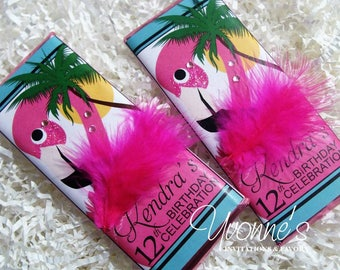 Flamingo Hawaiian Luau Party Favors-Candy Bar Wrapper-Flamingo Chocolate Bar Favors-Summer Pool Party, Vacation, Tropical Birthday Party