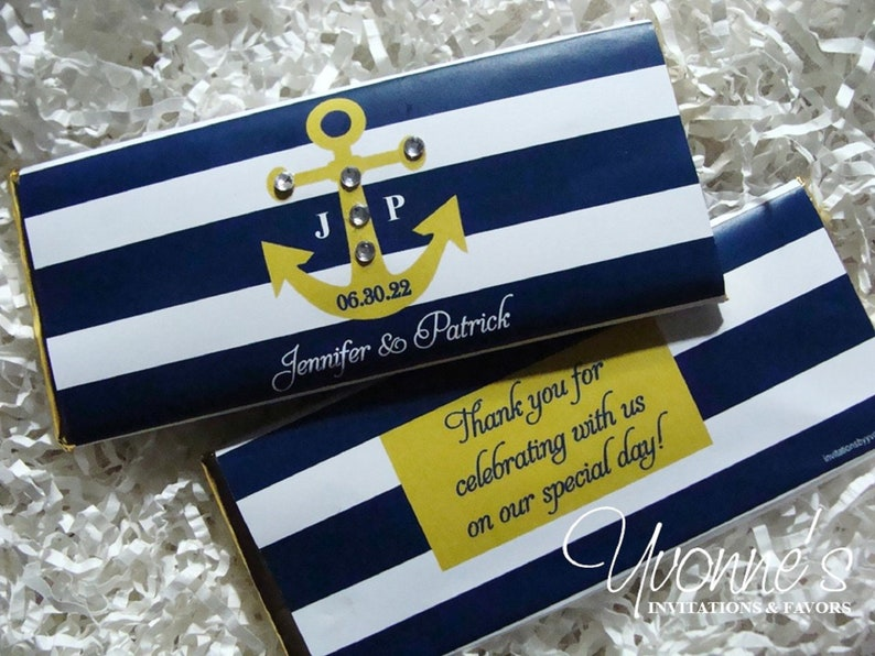 Nautical Wedding Candy Bar Wrappers for Chocolate Bars-Nautical Party Favors-Navy and Gold-Bridal Shower-Baby Shower-Cruise Birthday