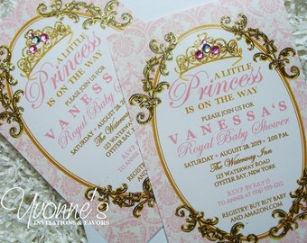 Princess Baby Shower Invitations-Blush Pink and Gold-Royal Baby Shower-Baby's First 1st Birthday Party Invitations-Tiara Crown-Damask Design