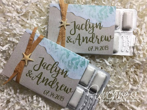 Beach Wedding Favors Gum Party Favors Or Gum Wrappers For Destination Wedding Tropical Beach Themed Sweet 16 Summer Beach Event