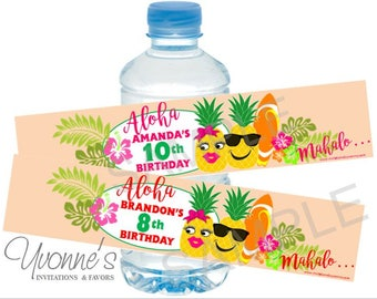 Luau Pineapple Water Bottle Label/Wrappers-Tropical Hawaiian Birthday, Destination Wedding, Summer Party-Pool Party-End of School-SET OF 12