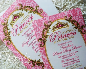 Princess Baby Shower Invitations-Hot Pink and Gold-Royal Baby Shower, Baby's First 1st Birthday Party Invitations-Tiara Crown-Damask Design