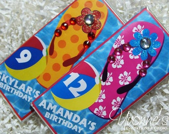 Tropical Birthday Candy Bar Wrappers/Assembled Chocolate Bar Favors-Flip Flops-Luau Summer Tween/Teen-Pool Party-Vacation-End of School