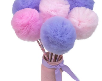Tulle Pom Pom Wands, Princess Wands, Party Favors or Centerpiece, PREMIUM, 10 or 12 pc set