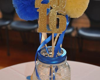 Graduation or High School Reunion Centerpiece Tulle Pom Pom Wands for Centerpiece - Set of 12  Basic Wands & 6 Year Signs