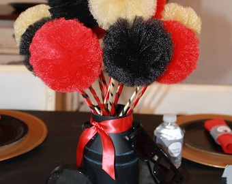 Graduation Party Centerpiece, Red, Black, Gold Hollywood or Spy Secret Agent Party, Tulle Pom Pom Wands for Centerpiece - Set of 10 or 12