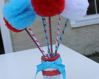 Cat in the Hat/Seuss Inspired Red, White and Aqua PREMIUM Tulle  Pom Pom Wands Favors Centerpiece - 10 pc or 12 pc Set