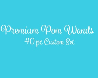 Tulle Pom Pom Wands, PREMIUM, Any Color,  40 Pc Set