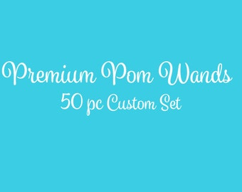 Tulle Pom Pom Wands, PREMIUM, Any Color,  50 Pc Set