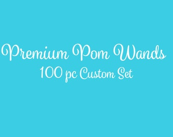 Tulle Pom Pom Wands, PREMIUM, Any Color,  100 Pc Set